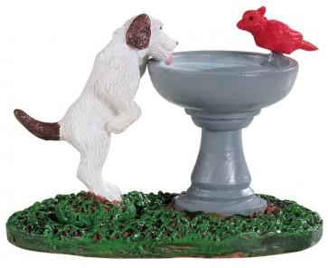 Lemax Fontaine Avec Oiseau Et Chien