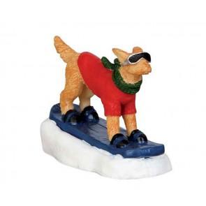 Lemax Snowboarding Dog