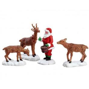 Lemax Santa Feeds Reindeer