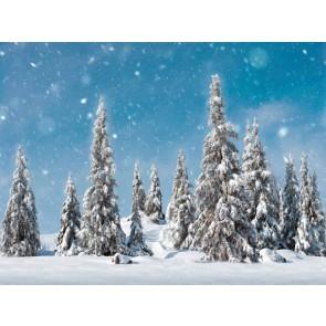 My Village Arriere Plan - arbres de neige 78X58cm