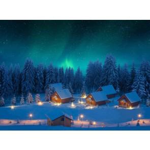 My Village Arriere Plan Textile - aurores boréales 76X56cm
